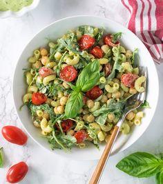 Vegan zero oil chickpeas pesto pasta salad . Add gluten free pasta to make it GF. Healthy salad for summer picnics / potlucks, lunch box.