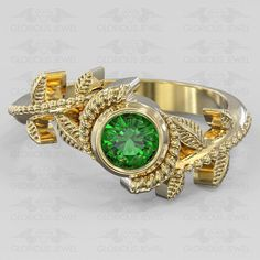 Glorious custom made Hyrule Warriors Legend of Zelda Nintendo inspired game ring Natural Emerald stone available in Silver.925 or Gold 14K