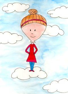 Illustratie; met je hoofd in de wolken. Gemaakt door Jiska Clevering-Hartsuiker. Materiaal: fineliners en ecoline. Sterrig verzorgt illustratieworkshops.