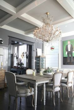 gray dining room... love this whole house
