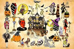 Halloween Tattoo Flash by:Alxbngala by ALXBNGALA, via Flickr | tattoos picture halloween tattoos