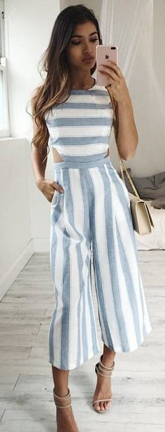 #spring #fashion  Striped Cut-out Jumpsuit + Nude Sandals✨💕