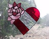 Red Heart Pink Rose Stained Glass Suncatcher