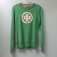Tory Burch sweater Green long sleeve sweater with logo zipper in the back, holographic logo on the front Tory Burch Sweaters