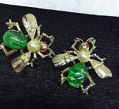 Vintage Bee Scatter Brooch 1950s Scatter Pins Green Marble Cabochon Body Pearl Accents Red Cabochon Eyes Rhinestone Wings Insect