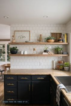 DIY Open Shelving in the Kitchen - Dark cabinets with brass pulls, granite and w. DIY Open Shelving in the Kitchen – Dark cabinets with brass pulls, granite and white subway tile Kitchen Ikea, Dark Kitchen Cabinets, Rustic Kitchen, Kitchen Dining, Kitchen Backsplash, White Cabinets, Kitchen Gadgets, Backsplash Ideas, Wood Cabinets