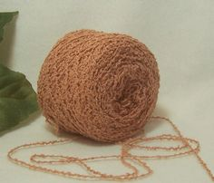 Aged Peach, Coral Color Yarn, Cotton Rayon Blend Yarn, Nice Bumpy Texture, Lace Fingering Weight, BIN 22 by RecycleandRepurpose on Etsy