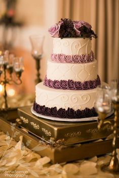 Anna and Spencer Photography, Atlanta Wedding Photographers. Purple Ombre Icing Wedding Cake. #weddingcakes