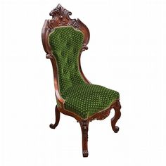 American Rococo Revival Upholstered Carved Rosewood Side Chair, The Tall Button Back Above A Serpentine Seat, Raised On Cabriole Legs   c. Mid 19th Century