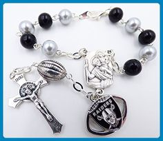 Single Decade St. Christopher Sports Team Auto Rosary - Oakland and Las Vegas Pro Football Catholic Rosary Beads - Wedding bracelets (*Amazon Partner-Link)