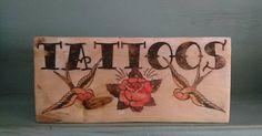 Old school tattoo wooden sign. https://www.etsy.com/uk/listing/532327690/old-school-tattoo-wooden-sign-wooden #oldschooltattoo #tattooart #sailorjerry #rosetattoo #swallowtattoo #woodensign
