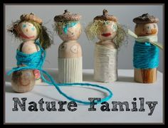 Nature craft for kids - a family made by things found in your backyard.
