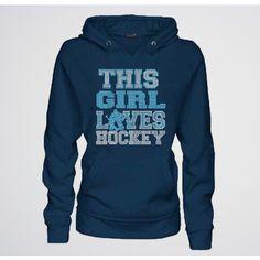 This Girl Loves Hockey Hoodie - Hockey Girl Hoodie Sweatshirt w/ Bling ($36) ❤ liked on Polyvore featuring tops, hoodies, hockey, blue hoodie, banded waist tops, rhinestone hoodie, hooded sweatshirt and rhinestone hoodies