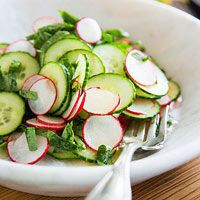 Radish and Cucumber Salad. Take advantage of your overflowing garden and whip up our simple radish and cucumber salad. A tasty lime oil-vinegar dressing brightens the fresh veggies in this salad. Start to Finish: 1 hr 25 mins Fresh Salad Recipes, Cucumber Recipes, Radish Salad, Cucumber Salad, Vegetarian Recipes, Cooking Recipes, Healthy Recipes, Vegetarian Salad, Le Diner
