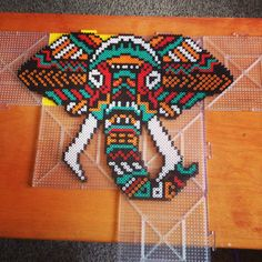 Tribal Elephant Perler Art Home Decor Home by CasaDePlur on Etsy Perler Bead Designs, Perler Bead Templates, Hama Beads Design, Diy Perler Beads, Pearler Bead Patterns, Perler Patterns, Hamma Beads 3d, Peler Beads, Fuse Beads