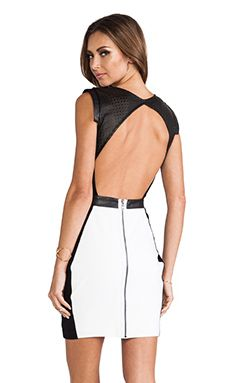 LaPina by David Helwani Dominique Dress in White & Black Leather | REVOLVE