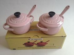 Pink Le Creuset Set Of 2 Condiment Pots With Spoons  New In Box #LeCreuset