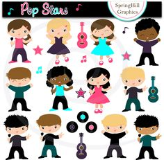 Popstars Digital Clip Art for Kawaii, Card Making, Web Design, Scrapbooking - Personal and Commercial Use. $5.00, via Etsy.