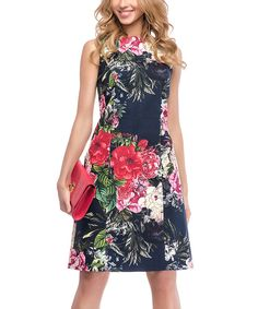 Look at this Black & Pink Floral Sheath Dress on #zulily today!