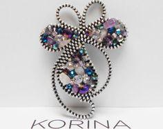 Flower Zipper Brooch Zipper Jewelry Glass Beads Czech