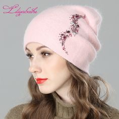 44bac3f3f03be LILIYABAIHE Women Autumn And Winter Hat angora Knitted Skullies Beanies Cap  Sexy beard diamond decoration hats for Girls