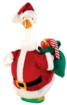 Santa Goose Outfit by Miles Kimball by Miles Kimball. $14.99. Santa steps out in ho-ho holiday style with this velvety-soft outfit. Carries a sack of presents. Polyester plush. For indoor or protected outdoor use. Imported.