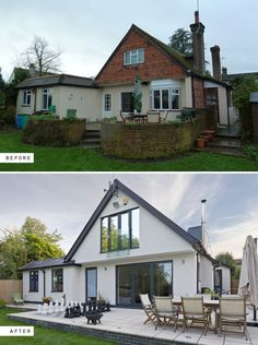 Adhoc extensions were re-planned and remodelled to transform a house in Lingfield, Surrey, UK. Renovation before and after photos. House Extension Plans, House Extension Design, House Design, Modern Bungalow Exterior, Modern Bungalow House, Home Exterior Makeover, Exterior Remodel, House Cladding, Facade House