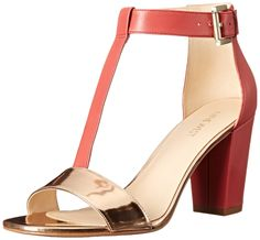 Nine West Women's Brannah Leather Dress Pump, Pink Orange/Pink Orange, 9 M US. T-strap pump featuring block heel and open toe. Adjustable ankle strap with buckle closure.
