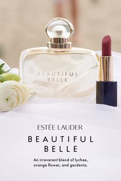 💋 color is so pretty. Say yes to now with Beautiful Belle, the new fragrance by Estée Lauder. An unexpected blend of lychee, orange flower, gardenia and marzipan musk notes. Shop the fragrance at Macy's. Perfume Diesel, Perfume Bottles, Romantic Notes, Estee Lauder Beautiful, Beauty Makeup, Hair Beauty, Beauty Room, Best Bridesmaid Gifts, Fragrance