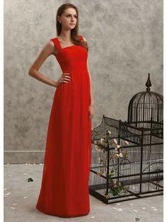 Chiffon Square Neckline Pleated Bodice Full Length A-line Prom Dress