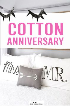 Super sweet cotton anniversary gifts for him! Your husband will love this unique gift for your 2 year anniversary. It's romantic, thoughtful, creative, and a great way to remember your wedding day! pillowcases are the perfect gift! Funny Wedding Gifts, Creative Wedding Gifts, Cotton Anniversary Gifts For Him, Monochrome Bedroom, Cotton Gifts, Pillow Room, Decorative Pillow Cases, Kids Pillows, Pillowcases
