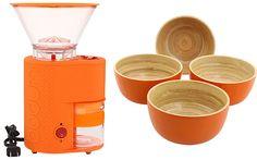 Orange Kitchen Liances And Bowls