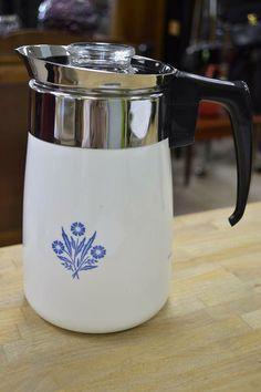 """Corningware Cornflower"" 6 Cup Percolator - Includes all innards"