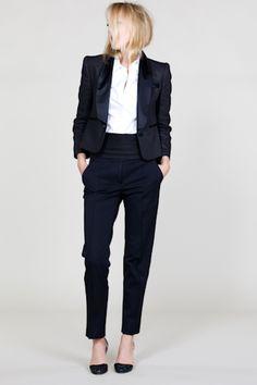 tux jacket, skinny trouser, white dress shirt - simple perfection.