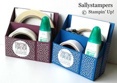 Adhesive Desk Caddy. Keep those all important adhesives together and tidy in this storage caddy. Would be perfect for classes and on tables too. Independent Stampin' Up!® Demonstrator UK.