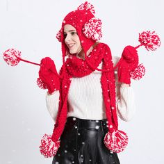 5bed275b715 Winter red knit hat scarf and gloves set for women best Christmas gift