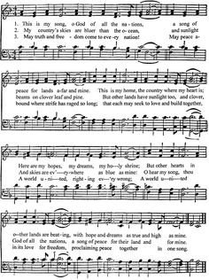 """This is My Song """"Finlandia"""" - Music by Jean Sibelius (1899) - Words by Lloyd Stone (1934)"""