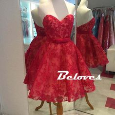 2016 Red Lace Sweetheart Short Homecoming Dress · Beloves · Online Store Powered by Storenvy
