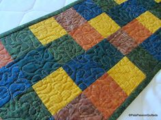 Scappy Fall Quilted Table Runner Quilted by PatsPassionQuilteds