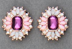 Simply Whispers hypoallergenic and nickel free jewelry pierced earrings posted rose gold flower pink fuchsia white crystals