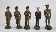 Moulded Elastolin toy soldiers of marching WWII Military Police servicemen | eBay