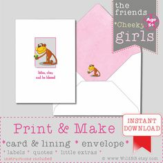 PRINT & MAKE JW listen obey and be blessed Card and Envelope Girl Cheeky Monkey by WildBB.etsy.com