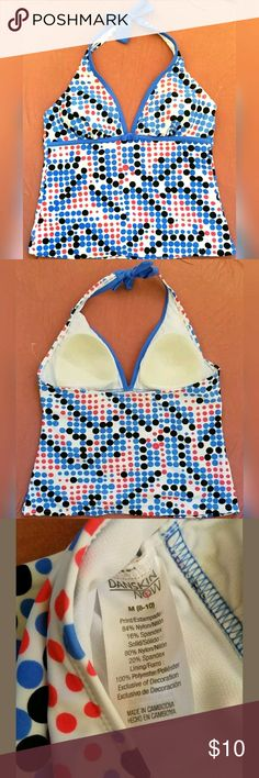 FINAL PRICE🔥NWOT Danskin Now Danskin Now Women's Swim Top Tankini Medium (8-10). Halter Top. Blue Pink Black White Polka Dot. New without tags. Perfect for summer :)   See my page for more!  Pet/smoke free home. Danskin Now Swim