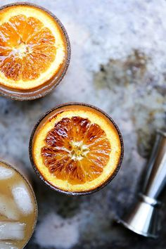 Apple Cider, Bourbon and Amaretto Cocktails with Brûléed Oranges recipe
