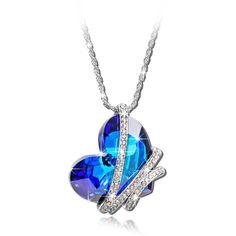 "Deal of the Day ;""Heart of the Ocean"" Blue SWAROVSKI ELEMENTS Crystal Heart Shape Pendant Women Necklace Fashion Party Jewelry"