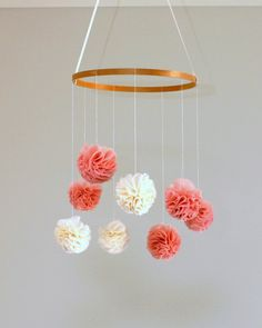 Pink and Ivory Pom Baby Mobile by MaxandMeHomewares on Etsy, $70.00 (girl) #DIY
