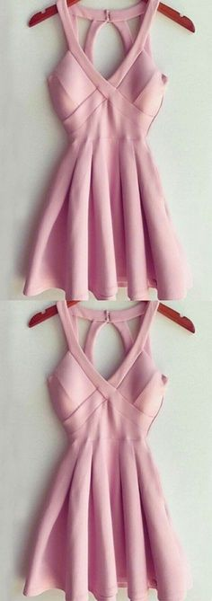 V-Neck Short Prom Dress, Open Back Pink Short Homecoming Dress, Simple Cheap Party Dress for Girls