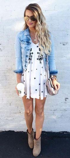white dress + denim jacket