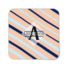 Blush pink navy blue monogram paper cup baby gifts child new blush pink navy blue monogram square sticker initial gift idea style unique special diy negle Choice Image