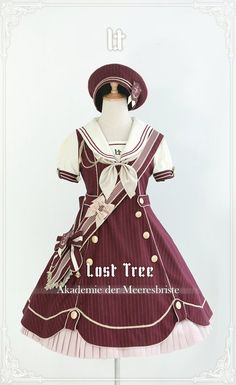 Lost Tree -Akademie der Meeresbrise- Lolita OP Dress - My Lolita Dress Harajuku Fashion, Kawaii Fashion, Lolita Fashion, Mode Outfits, Fashion Outfits, Cute Asian Fashion, Kawaii Clothes, Character Outfits, Lolita Dress